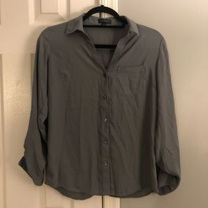 The Limited gray, button down, long-sleeve blouse